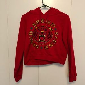 Red Spend cropped sweater